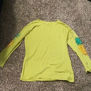 Long sleeve shirt with pineapples on sleeves